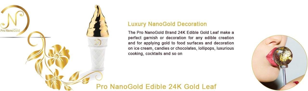 ورق طلا نانو گلد خوراکی جهت تزیین انواع دسر و بستنی